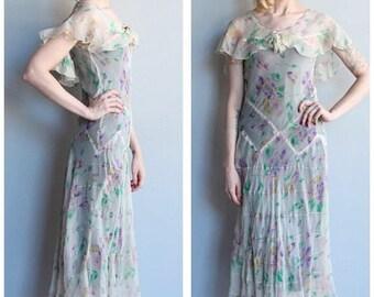 20% Off Sale // 1930s Dress // Silk Chiffon Floral Dress // vintage 30s dress