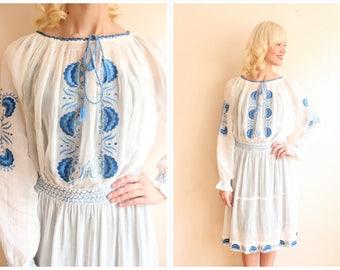 1930s Dress // Lake Hévíz Hungarian Embroidered Dress // vintage 30s dress