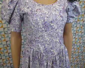 12 M - Stunning Vintage 90's Laura Ashley Lilac Floral Cotton Dress - L662