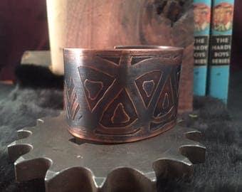 Fisticuff- etched copper cuff bracelet
