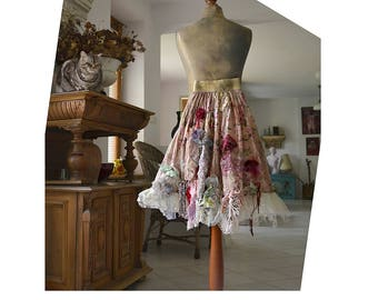 Wonderful  Unique Art To Wear Romantic  Skirt With Gold Elastic Waist RRED ROSES Fairy Cinderella Boho Hipie Tattered