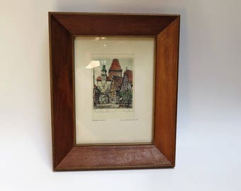 Mid Century framed Etching Art Work  - Chunky Wood Picture Frame