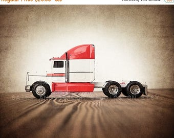 WEEKEND SALE Red and White Semi Truck, Photo Print,  Wall Decor, Playroom decor,  Kids Room, Nursery Ideas, Gift Ideas,