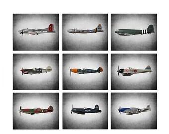 FLASH SALE til MIDNIGHT Airplane Nursery Decor, Airplane Prints, Airplane Wall Art, Vintage Wwii Airplanes Set of 9 Photo Prints,