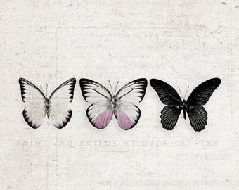 FLASH SALE til MIDNIGHT 3 Butterflies Across, One Photo Print, Nursery Decor, Girls Room, Muted Tones, Butterflies, Art Print, Butterfly Art