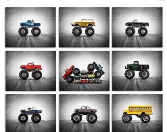 FLASH SALE til MIDNIGHT Monster Truck Wall Art,  photo prints set of 9, Nursery Decor, Rustic Decor Toy Cars, Baby room ideas, Boys Room Dec