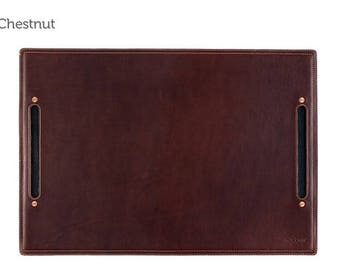 SECONDS - Large Leather Desk Pad & Desk Protector l Leather Desk Mat - Chestnut