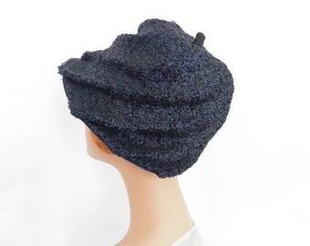 1950s woman's hat, vintage navy blue straw, swirl design