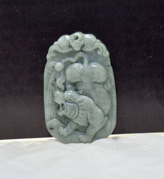 A emerald carved jadeite jade tiger pendant amulet natural genuine a emerald carved jadeite jade tiger pendant amulet natural genuine jade charm jadeite pendant gemstone bead for necklace 48mm from backgard on etsy studio mozeypictures Gallery