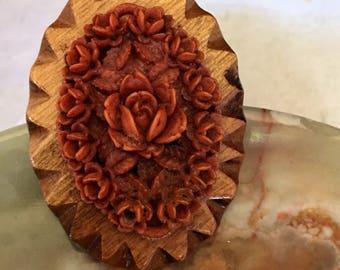 Carved Rose Design on Wood Brooch