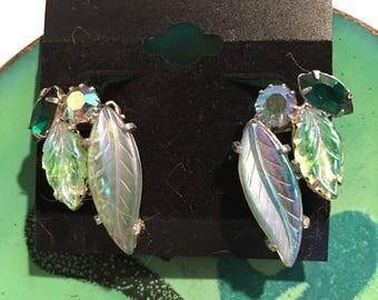 Continental Green Rhinestone Clip Earrings