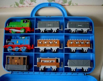 Thomas the Tank Engine Carrying Case with three train sets,PERCY, THOMAS and TOBY in Original Box, Like New.