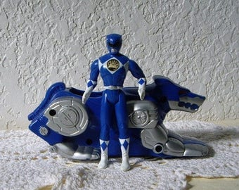 Mighty Morphin Blue Power Ranger, Billy (NEW IN PACKAGE) with his space vehicle, Fast Food Toy, 1995