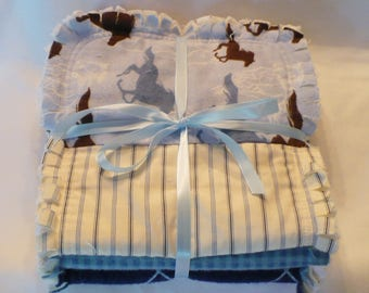 Baby Boy Rag Quilt Burp Cloths Set of 3 Burp Towels Western Rodeo Retro Cowboy Horses Navy Blue Jean Tan Brown Baby Gift Cotton Chenille