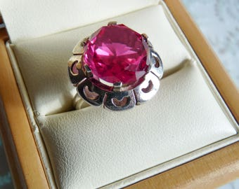 Vintage Mexican Sterling Silver TAXCO Pink Purple Color Change Ring Mexico