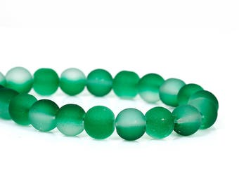 """50 Beads - 8mm Green and Clear Frosted Rubberized Glass Round Beads - 16"""" strand - Approx 50 beads per strand - Hole Size: 1.5mm"""