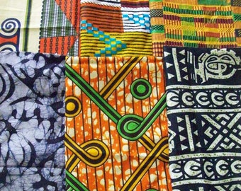 "Kente and African Print fat quarter bundles 18""x22"" inch 6 pieces/ African craft fabrics/African fat quarter packs"