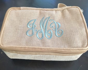Monogrammed Make Up Bag - Personalized Cosmetic Bag - Jewelry Bag - Burlap Monogram - Gifts for Her - Graducation Gift - Bridesmaid Gift