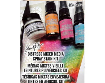Distress Mixed Media Spray Stain Kit - Ranger Tim Holtz - Textured stencils tutorial, spray stain techniques and more