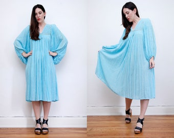 Vintage Indian Cotton Boho Dress Hippie Dress Ethnic Floral Gauze Cotton Dress 70's