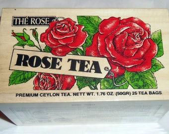 Black Tea Flavored with Rose Petals 25 Tea Bags in Reusable Wooden Mini Crate