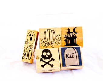 Lot of 5 Halloween Themed Rubber stamps Recollections, Craft Smart, Hampton Art New and Used