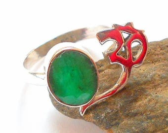 Emerald Sterling Silver Om Ring Size 8 earthegy May Birthstone #753