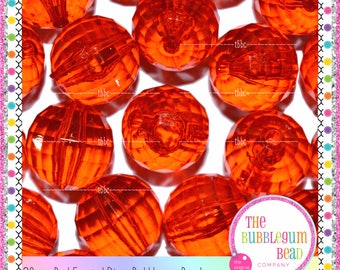 20mm BRIGHT RED TRANSPARENT Disco Bead, Bubblegum Chunky Bead, Gumball Bead, Acrylic Bead, Round Bead, Diy Supply, The Bubblegum Bead Co.