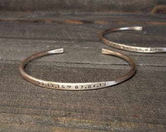 Personalized Cuff Gold Fill Hand Forged Bracelet