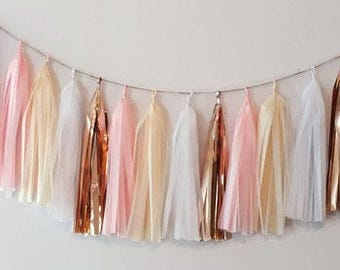 Blush tassel garland,rose gold tassel garland,champagne tassel garland,wedding garland,Bachelorette garland,baby shower decoration