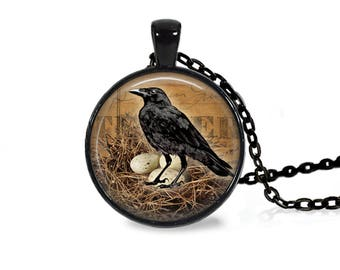 "25mm Raven In Nest w/ Eggs Cabochon Black 18"" Necklace"