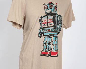 Robot On Tan Adult T Shirt XS SM M L 2XL 3XL 4XL
