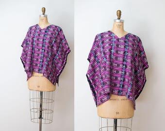 Vintage Guatemalan Huipil Poncho / Purple Woven Blouse