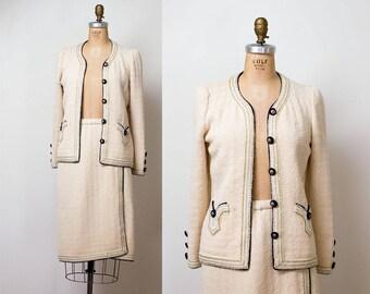 1970s Adolfo Suit / 70s Cream Boucle Wool Skirt Suit