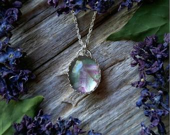 Sterling Silver Fluorite Necklace Clear Green Purple Stripe Stone Pendant Gemstone 925 Jewelry