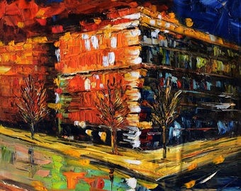 70% off Original painting Oil Painitng Cityscape painting impasto palette Knife Colorful painitng orange night ready to hang gift art by Mar