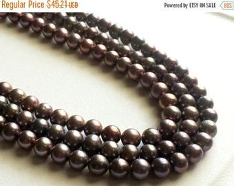 ON SALE 55% Pearls - Purple Grey Color Pearls, Natural Fresh Water Round Pearls, Natural Pearls, 6mm, 8 Inch Half Strand, 35 Pieces, Wholesa