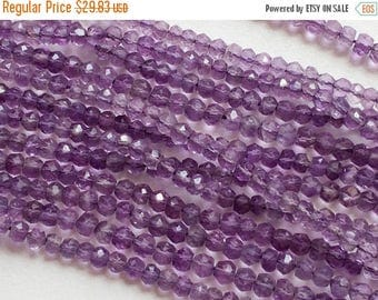 ON SALE 55% Amethyst -  Amethyst Beads, Amethyst Faceted Rondelles, Purple Beads, Amethyst Necklace, 3.5 -4mm  Micro Faceted Rondelles - 14