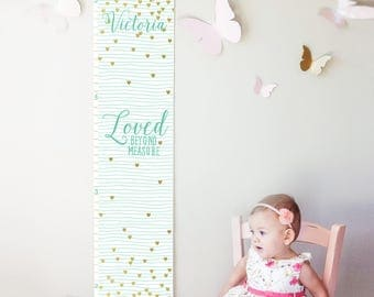 "Custom/ Personalized mint striped and gold hearts ""Loved beyond measure"" canvas growth chart for girl's room/nursery or baby shower gift"