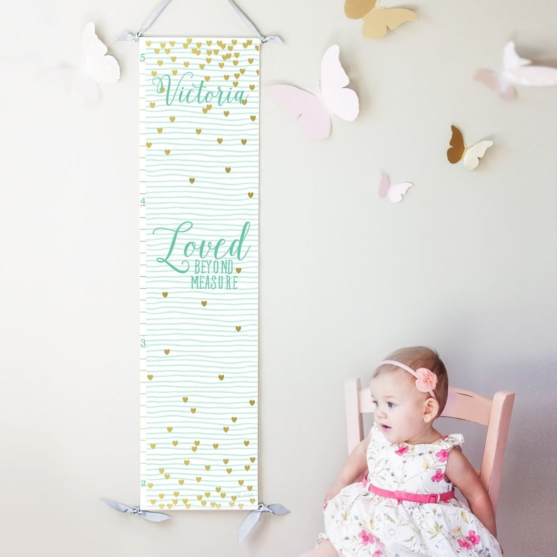 Personalized loved beyond measure canvas growth chart with mint personalized loved beyond measure canvas growth chart with mint stripes and gold hearts nvjuhfo Image collections