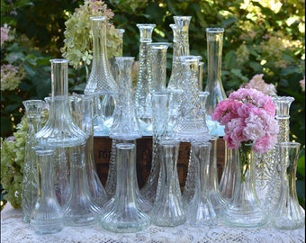 Vintage Wedding Bud Vases/ Collection of Ten / Great Gatsby Wedding / Clear Glass Vases / Sparkle and Shine