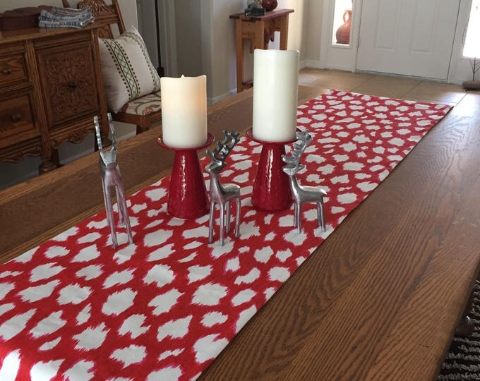 Christmas Holiday Table Runner, Kravet Leopard Print in Maraschino Red and White or Picnic Green and White Designer Fabric
