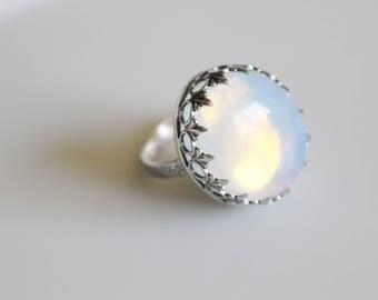 Opalite Ring / Big Statement Ring / Ocean Stone Jewelry / Opalized Glass Ring / Opal Statement Ring / Opal Moonstone Ring / Size 9 Ring