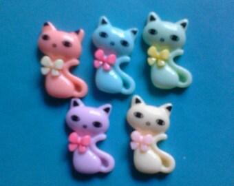 Kawaii kitty cat cabochon charms decoden Deco diy 5 pcs---USA seller