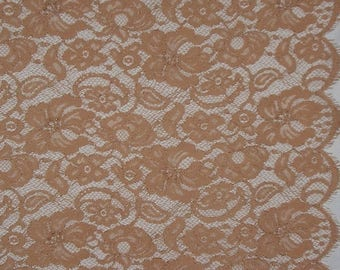 ON SALE SPECIAL--Dusty Apricot Floral Design Leavers Chantilly Lace Fabric--One Yard
