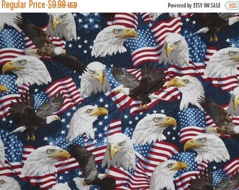 ON SALE Packed American Eagles with Flags Print Pure Cotton Fabric--By the Yard