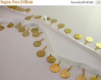 ON SALE Shiny Gold Color Coin Fringe Trim on White Ribbon--One Yard