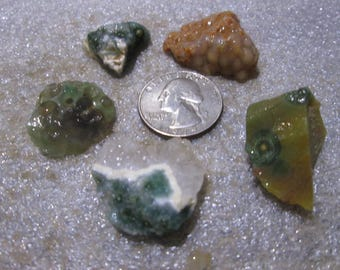 Lot of 5 Small Ocean Jasper Orange Green Gray White Orbs Chunks -9