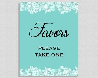 Favors Printable Sign, Tiffany Blue Baby Shower Favor Sign, Tiffany Blue & White Lace, 2 Sizes, DIY Printable, INSTANT DOWNLOAD