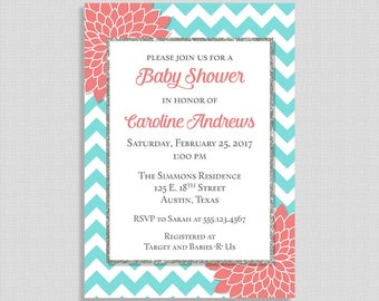 Aqua and Coral Baby Shower Invitation, Chevron Invite, Mums, Gender Neutral, DIY PRINTABLE